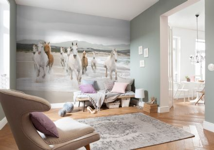 White horses wall mural wallpaper